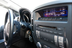 Car dashboard with fuel economy text Stock Photo