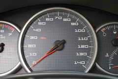 Car Dashboard Gauges. A closeup of a modern car interior - the dashboard. This is the drivers cockpit Stock Image