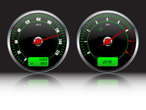 Car dashboard gauges. Speedometer and RPM Stock Photo