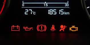 Car dashboard icons. Close-up. Error vehicle signs Royalty Free Stock Photo