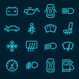 Car dashboard icons. Set with warning lights fuel door seat symbols isolated vector illustration Royalty Free Stock Image