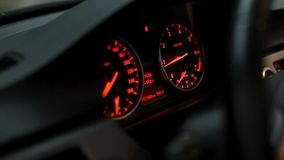 Car dashboard indicators stock video footage