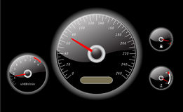 Car dashboard instruments vector illustrated. On black background Royalty Free Stock Photo