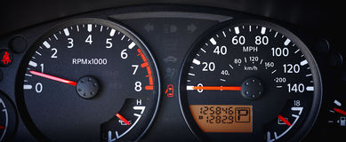 Car Dashboard with Odometer Royalty Free Stock Photos