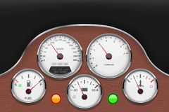 Car dashboard panel decorated with wood. Vector 3d illustration vector illustration