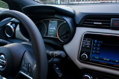Car dashboard showing consumtion info royalty free stock images