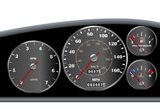 Car dashboard speedometer for motor or sportscar Stock Photography