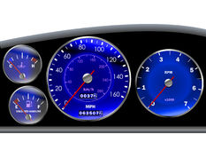 Car dashboard speedometer for motor or sportscar Stock Images