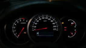 Car dashboard during start engine stock footage