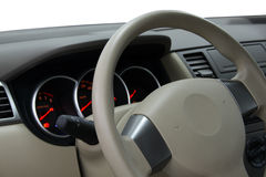 Car Dashboard and Steering Wheel. Closeup Royalty Free Stock Images