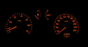 Car dashboard turn and speed meter Stock Photo