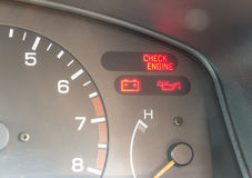 Car dashboard warning lights symbols. Showing check engine ,oil pressure , battery charge Royalty Free Stock Photo