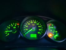 Car dashboard which contains the engine acceleration, speed and Stock Photography