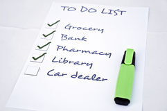 Car dealer. To do list with car dealer Stock Photos