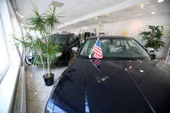 Car dealer. Cars for sale in motor dealership stock photography