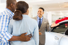 Car dealer customers Stock Images