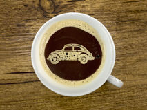 Car dealer offers coffee. In the show room royalty free stock photos