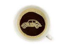 Car dealer offers coffee. In the showroom stock images