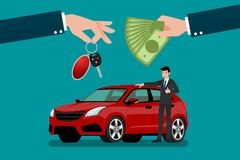 The car dealer`s hand make an exchange between the car and the customer`s money. Vector illustration design Stock Photography