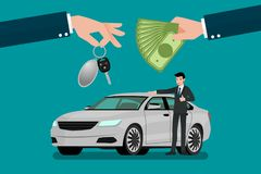 The car dealer`s hand make an exchange between the car and the customer`s money. Vector illustration design Royalty Free Stock Photo