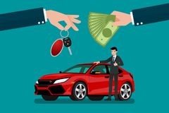 The car dealer`s hand make an exchange between the car and the customer`s money. Vector illustration design Stock Photo