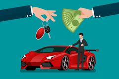 The car dealer`s hand make an exchange between the exotic luxury super car and the customer`s money. Vector illustration design Royalty Free Stock Image