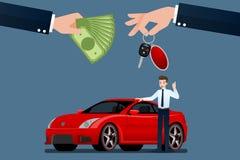 The car dealer`s make an exchange, sale, rent between a car and the customer`s credit card. Vector illustration design vector illustration