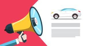 Car Dealer - Seller Announcement. White Sedan Automobile with Megaphone Vector Illustration stock illustration