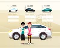 Car Dealer Web Design Vector Presentation. Cars with Happy People on Modern Leaflet stock illustration