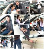 Car dealership advice - sellers and customers when buying a car stock photos