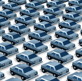 Car Dealership. Concept as a group of generic three dimensional cars organized as a pattern in a parking lot as a symbol of auto sales imports and exports or Royalty Free Stock Images