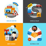 Car Dealership 2x2 Design Concept. Set of dealer center vehicle sale buying automobile flat vector illustration Royalty Free Stock Photo