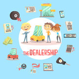 Car Dealership Firm Professional Dealer Selling The Vehicle To The Young Couple Illustration With Different Car Dealing Royalty Free Stock Images