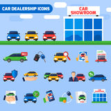 Car Dealership Flat Icons Composition Banner. Car dealership center flat icons composition with new vehicles showroom and sale deal pictograms abstract vector Royalty Free Stock Photos