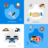 Car Dealership Flat Icons Square Concept. Car dealership flat icons composition of automobile sale autoservice buying contract and auto show square concept Stock Photo