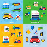 Car Dealership 4 Flat Icons Square. Car showroom with vehicles for sale and safe payment options 4 flat icons square composition banner vector illustration Stock Photo