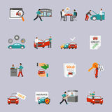 Car Dealership Icon Set. Car dealership and automobile retail icon set isolated vector illustration Stock Photo
