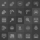 Car dealership icon. Vector collection of buying and selling a vehicle outline signs on dark background Stock Images