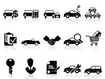Car dealership icons set. Black car dealership icons set from white background Stock Photos