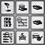Car dealership 9 icons set Royalty Free Stock Image