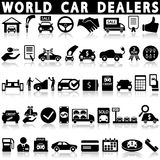 Car dealership icons set. On a white background with a shadow Stock Photos