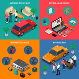 Car Dealership Isometric Concept. With advising customer and online purchase warranty service buying vehicle  vector illustration Royalty Free Stock Images