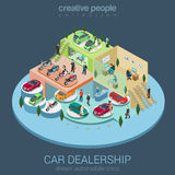 Car dealership isometric concept. Flat 3d isometric car dealership sale concept vector. Sedan, electric car, convertible cabrio, luxury, motorbike indoor Royalty Free Stock Photos