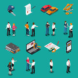 Car Dealership Isometric Icons Set. Set of isometric icons with car dealership customers and sellers computer search and purchase  vector illustration Stock Image