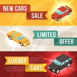 Car Dealership Leasing Horizontal Banner Set Royalty Free Stock Photography