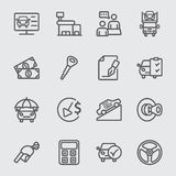 Car dealership line icon Stock Images
