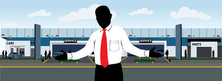 Car Dealership with salesman. Silhouette style illustration of a salesman welcoming the customers, in the background is a car Dealership or a car repair shop Stock Image