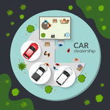 Car Dealership Top View Flat Poster. New certified cars dealership and used auto outside for sale top view flat poster abstract vector illustration Royalty Free Stock Image