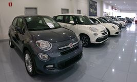 Car dealership for used cars and new Italian cars stock images