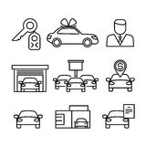 Car dealerships, purchase and sale of cars line vector icons Royalty Free Stock Photography